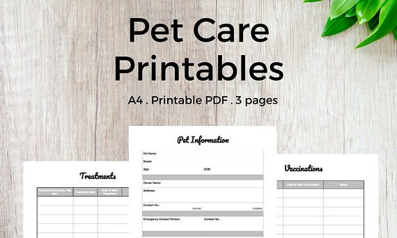 Pet Care Printables Pet Health Binder Inserts    A4 PET CARE PRINTABLES     Track your pet's details, health info and vaccines with this 3-page PDF download #pet #printables #etsy