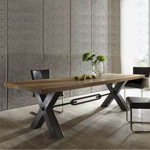 Distressed wood & metal leg dining table. Industrial modern design from Amode.