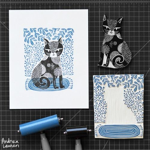 Cat : Original Block Print by Andrea Lauren