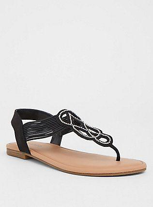 605d739a58901b Black Rhinestone T-Strap Sandal (Wide Width)