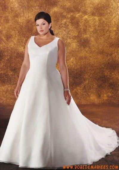 Robe de mariée grande taille simple col V
