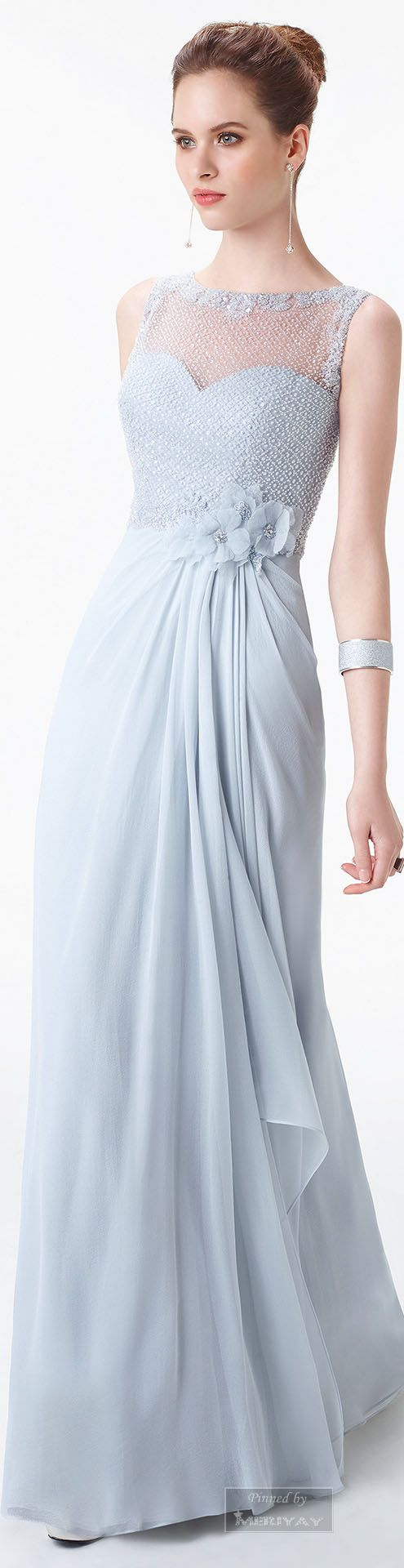 Aire Barcelona ~ Sheer Bodice Evening Dress, Sky Blue 2015