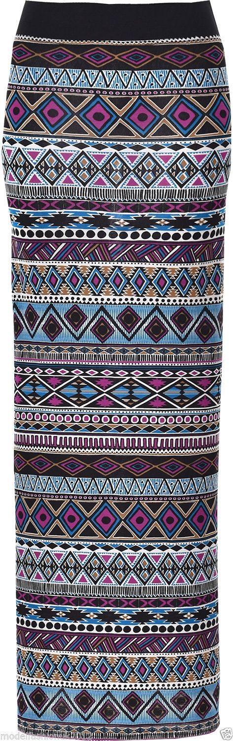 Women's Ladies Aztec Print Gypsy Full Length Jersey Maxi Skirts. Available in Two colours print Plum Aztec and Teal Aztec. Be sure to add Model Fashion UK to your favourites list ! In Four sizes: S/M = 8-10, M/L = 12-14, L/XL = 14-16. | eBay!