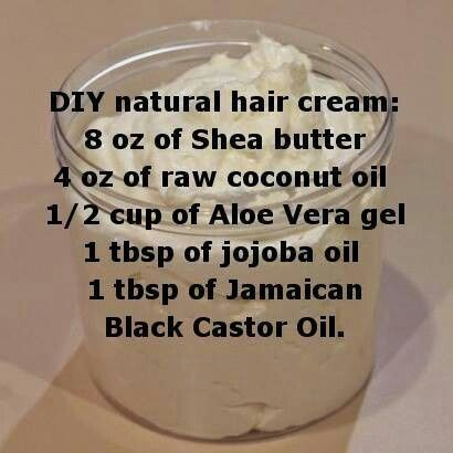 DIY natural hair cream (shea butter, coconut oil,aloe vera gel & jojoba oil, castor)