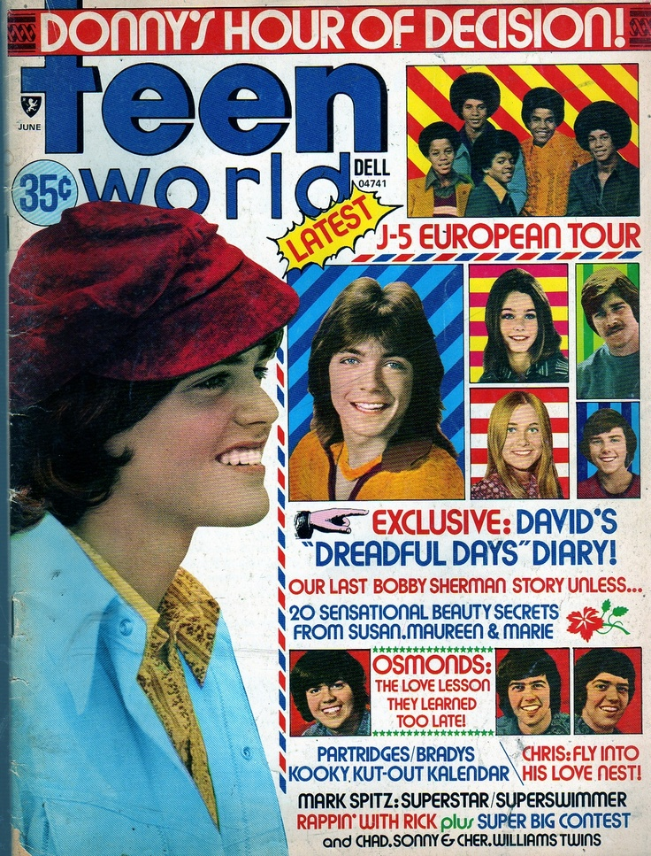 Teen World 1973 David Cassidy Michael Jackson Osmonds Bobby Sherman.Was my very first crush.Please check out my website thanks. www.photopix.co.nz