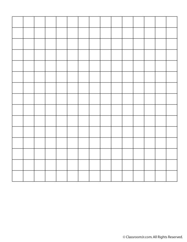 Blank 15 x 15 grid paper or word search grid classroom for Blank scrabble board template