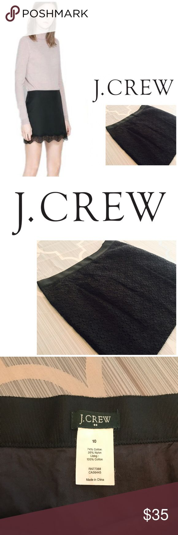 J. Crew Black Skirt size 10 J. Crew Black Mini Midi depending on height lol. Skirt size 10 model photo is stock for reference only. Preowned.  Great condition. Measurements in listing J. Crew Skirts