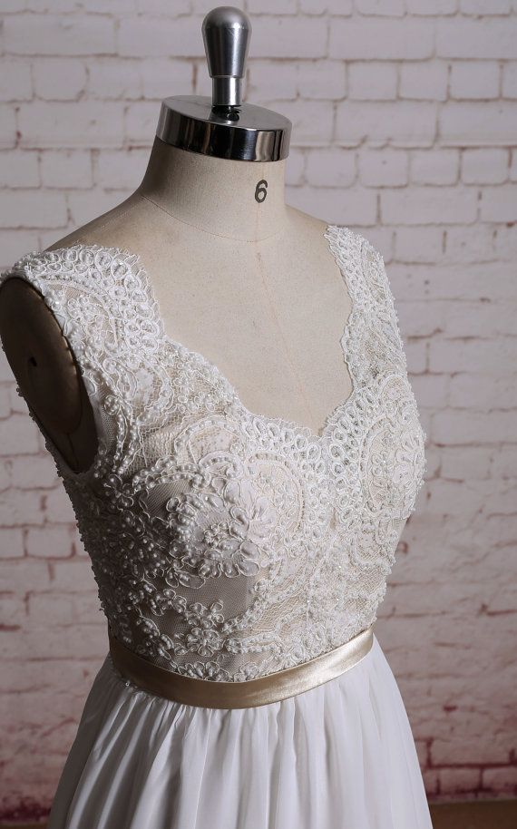 Beading Bodice Wedding Dress V-Back Bridal Gown by LaceBridal