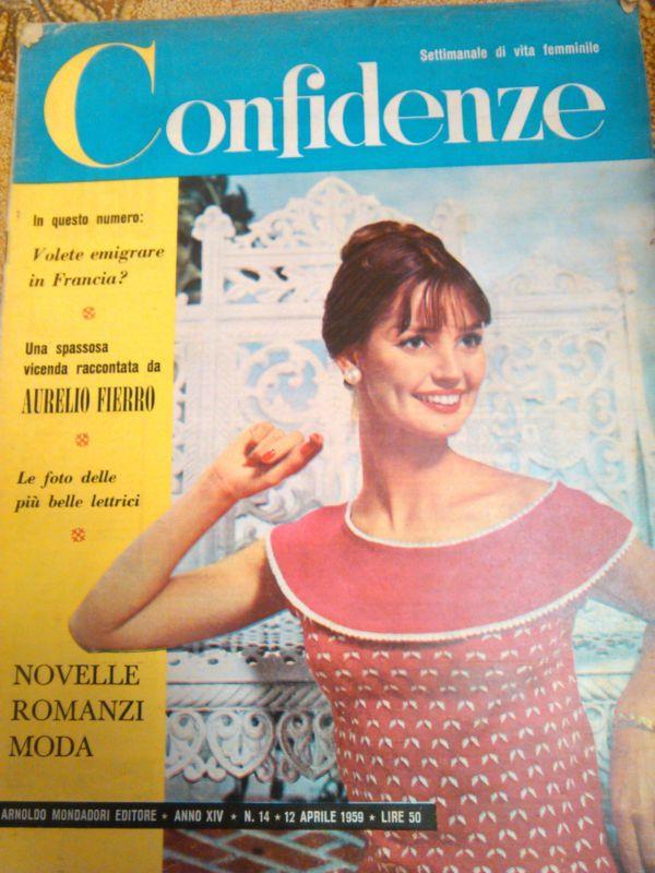 rivista confidenze settimanale di vita femminile 1959 n.14
