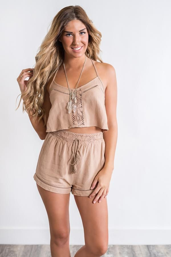 Bexley Crochet Two Piece (Taupe)