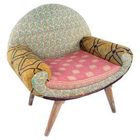 """Curl up with your favorite read in this midcentury-inspired arm chair, featuring a mango wood frame and vintage cotton kantha cloth upholstery.  Product: ChairConstruction Material: Mango wood and vintage cotton kanthaColor: MultiDimensions: 33"""" H x 31"""" W x 22"""" DNote: Assembly requiredCleaning and Care: Spot clean"""