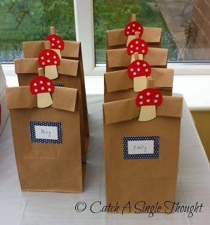DIY toadstool party bags using brown lunch sacks