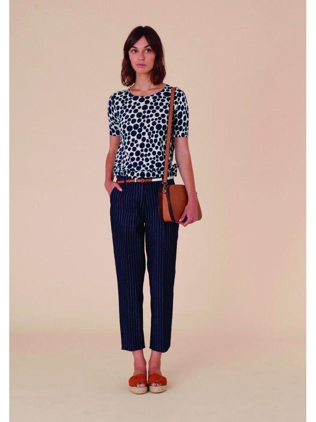 #Jersey de algodón manga corta con estampación en lunares marinos. Colección #NiceThings primavera verano 2016. #Fashion #Moda