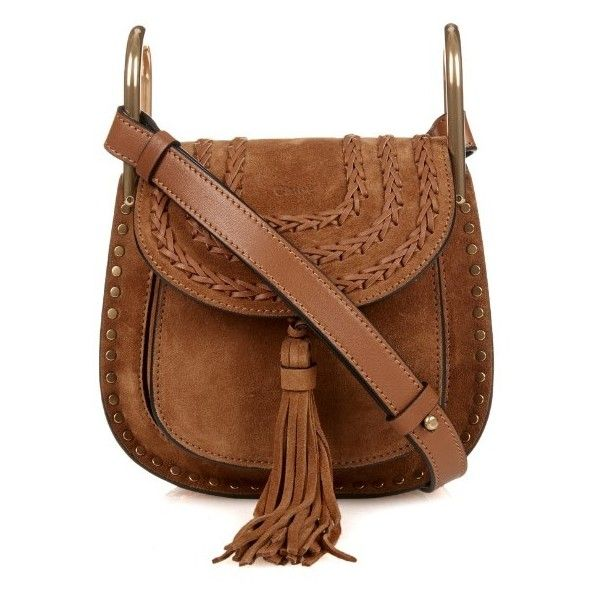 Chloé Hudson mini suede cross-body bag (111,710 INR) ❤ liked on Polyvore featuring bags, handbags, shoulder bags, tan, shoulder handbags, chloe crossbody, crossbody handbags, crossbody purse and brown crossbody purse