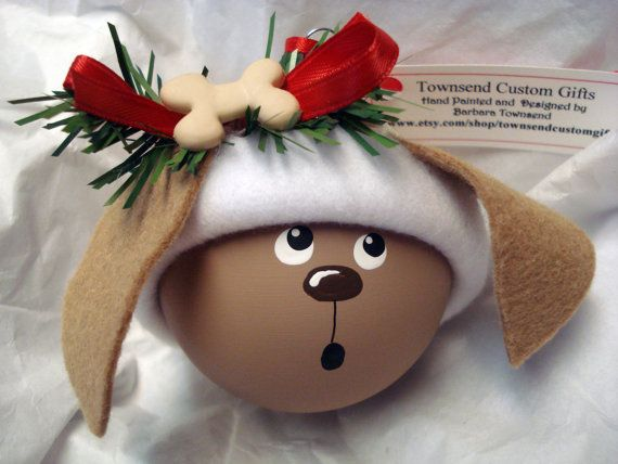 Brown Dog Christmas Ornament Tree Bulb Hand Painted Glass Personalized Cream Bone & Cream Paw Bone Heart Hat