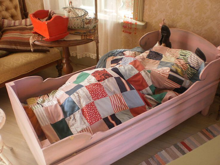 Pippi Longstocking's bed...she sleeps with her shoes on and her feet on her pillow!