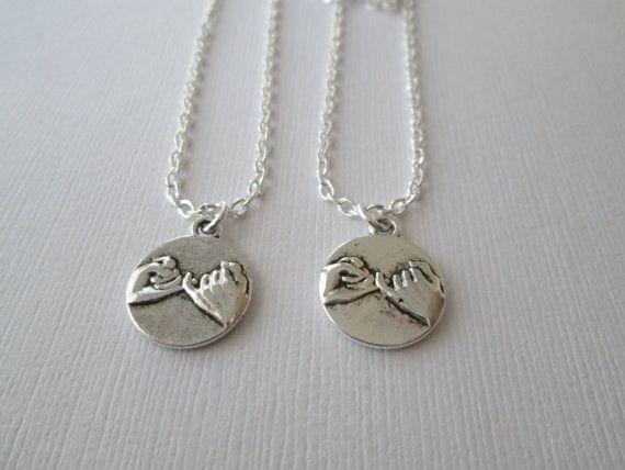 2 Pinky Pomise Best Friends Necklaces by HazelSarai on Etsy, $20.00