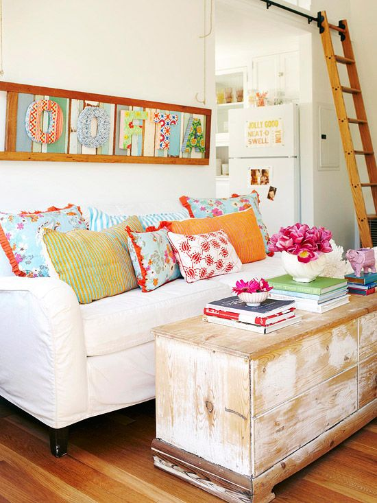 .: Ladder, Living Rooms, Decor Ideas, Living Spaces, Interiors, Small Spaces, Bright Colors, Bright Pillows, Small Cottages