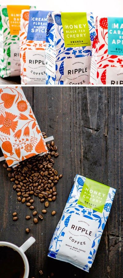 Patterned Ripple Coffee Packaging | Patterns by Helen Dardik & Packaging Design by Design Womb