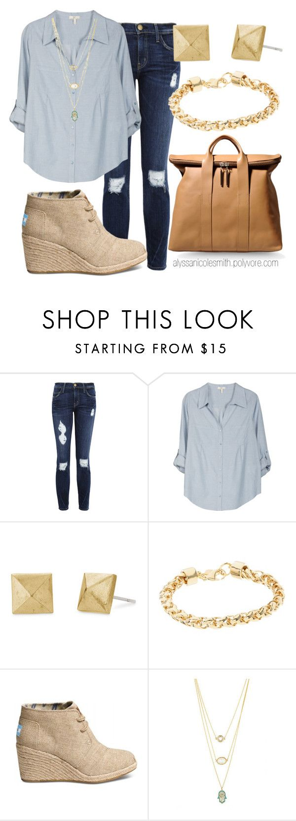 """Casual Sunday Outfit"" by alyssanicolesmith ❤ liked on Polyvore featuring Current/Elliott, Joie, Stella & Dot, Kate Spade, TOMS and 3.1 Phillip Lim"