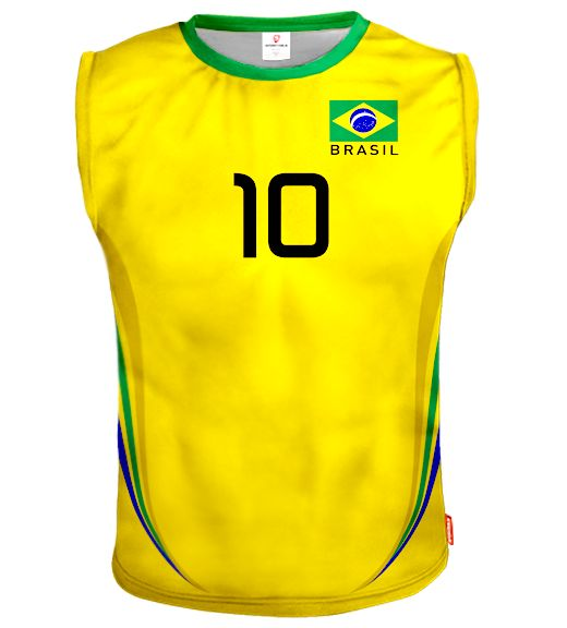 BRAZIL Sleeveless Volleyball Jersey With Custom Name and Number