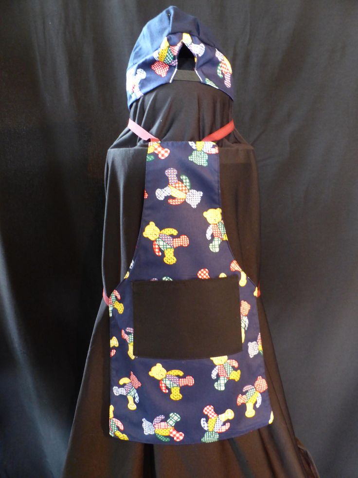 Handmade 1 - 2 Years,  Kids Navy Blue Teady Bear Apron With Chefs Hat, Fully Reversible, Navy Backing, Tie Strings at Neck & Wast. by ArtisticArtistryCo on Etsy