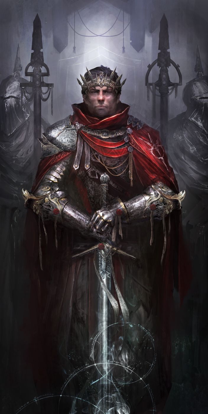 King of the Britons by theDURRRRIAN Arthur Excalibur knight prince fighter paladin soldier sword platemail crown armor clothes clothing fashion player character npc | Create your own roleplaying game material w/ RPG Bard: www.rpgbard.com | Writing inspiration for Dungeons and Dragons DND D&D Pathfinder PFRPG Warhammer 40k Star Wars Shadowrun Call of Cthulhu Lord of the Rings LoTR + d20 fantasy science fiction scifi horror design | Not Trusty Sword art: click artwork for source