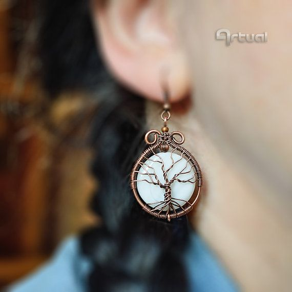 Tree of life earrings wire wrapped jewelry tree of life by Artual - SOLD :)