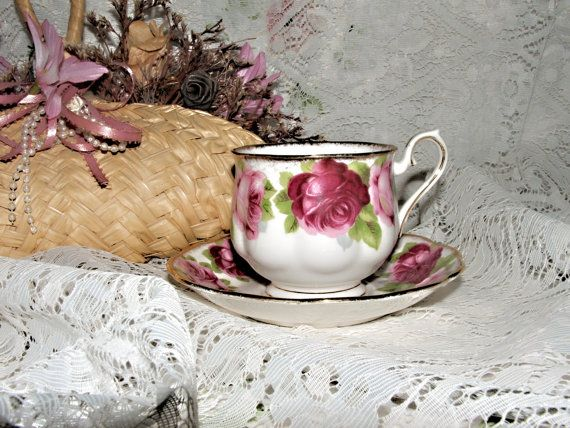 Royal Albert Old English Rose Cup and Saucer 1945-1960 Large Red Roses