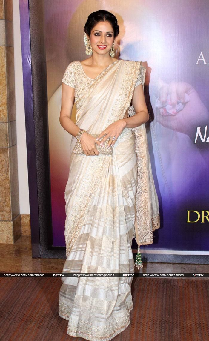 Sridevi came in her Chandni look, wearing a white Mahe Ayyappan sari.