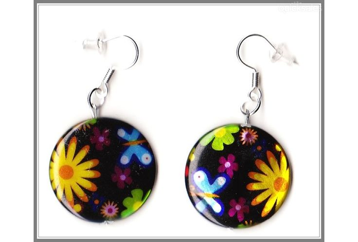 Flower Mother of Pearl Shell Coin Bead Earrings