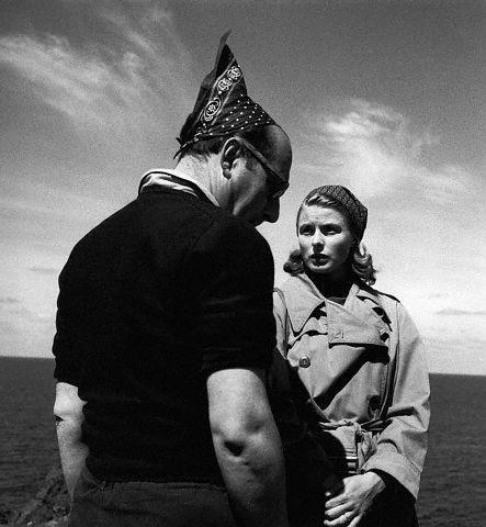 Roberto Rossellini and Ingrid Bergman during the filming of Stromboli, 1949.