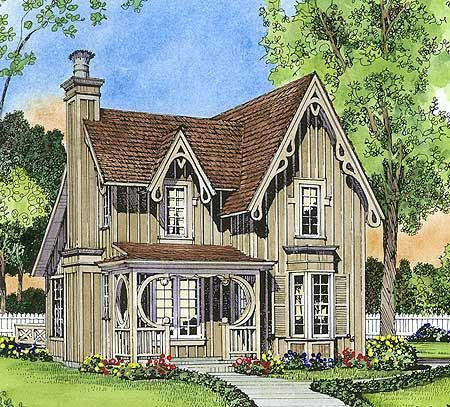 Plan 43044pf gothic revival gem small cottages house for Gothic revival home plans