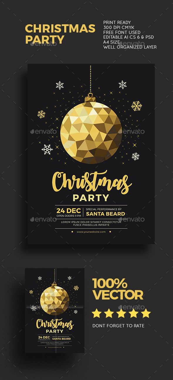 Christmas Gold Party — Photoshop PSD #new year #elegant • Download ➝ https://graphicriver.net/item/christmas-gold-party/18820054?ref=pxcr