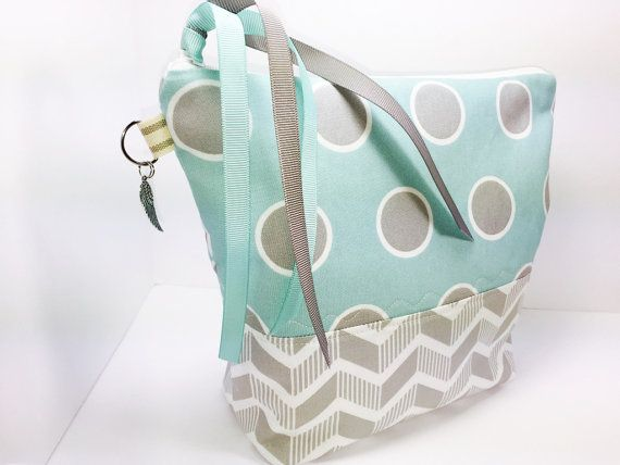 Teal Wet Bag, Large Waterproof Makeup Pouch, Big Polka Dots, Lunch Bag, Chevron Cosmetic Pouch, Wash Bag, Project Bag, Gifts For Her  This zipper bag is padded with fusible fleece for a soft, gentle, and lovely hand feel. The lining is waterproof PUL fabric (a waterproof, breathable polyurethane fabric made with a thin laminate film bonded to polyester knit). The interior PUL fabric is placed with the shiny side up - just wipe the inside clean for spills and leaks.  This wet bag/pouch has…