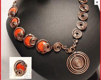 Sistema de la joyería de cobre cobre collar por BeyhanAkman en Etsy