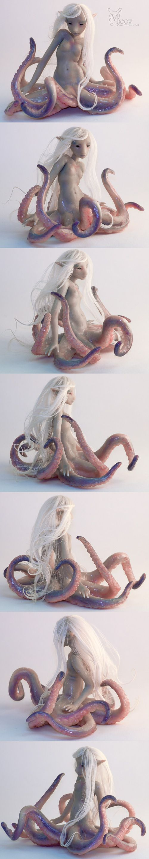OOAK Octopus Mermaid Sculpture Polymer Clay Fairy Art Doll Fantasy Sculpture | eBay