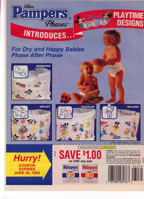 1992 Pampers diapers print ad with baby Disney characters