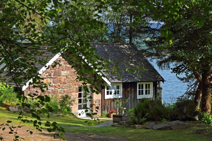 Tour of lovely little stone cottage on the water in for Tiny stone cottage