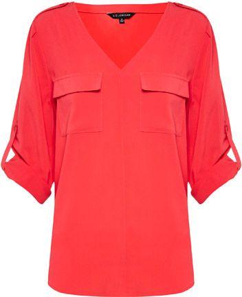 Liz Jordan 2 Pockets Shirt $79.95 AUD  Long sleeve 2 pocket shirt with tab and shoulders, curved hem 100% Polyester  Item Code: 047065