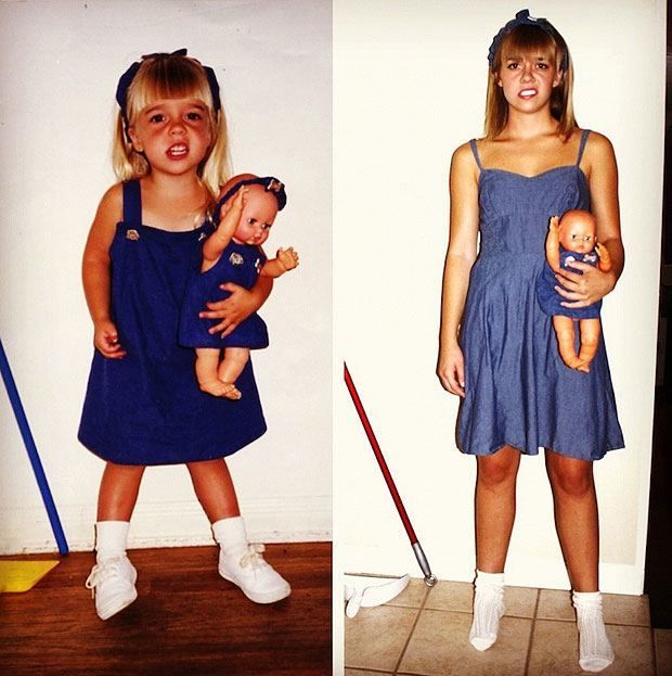 Still dragging that doll around  Check Out These Hilariously Recreated Childhood Photos • Page 3 of 6 • BoredBug