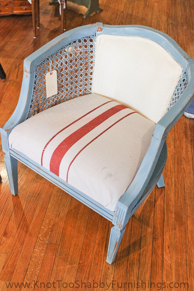 Blue Painted Wood Cane Sided Barrel Chair 190 00 Via