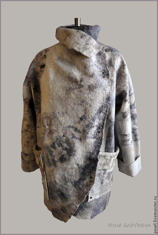 """Купить Парка """"Ирбис"""" - белый, абстрактный, Пятнистый, парка, пальто, валяное пальто, свободный силуэт"""