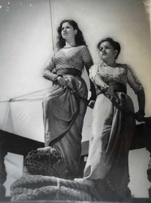 "myluckyerror: "" Geeta Bali and Yashodhara Katju in ""Baaz"" (1953) """