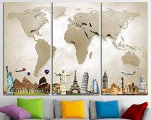 Grote kaart Canvas Print Wall Art Multi Panel wereld kaart Wall Decor wereld wereldkaart afdrukken oude wereld kaart Poster Art Travel kaart Canvas kunst aan de muur