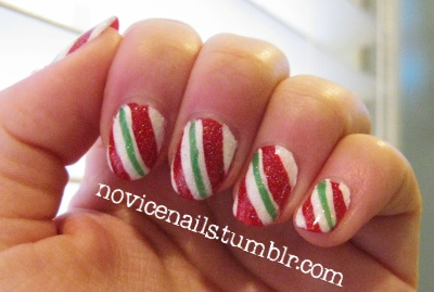 Christmas nails...would be cool to paint just the tip like ribbon candy!