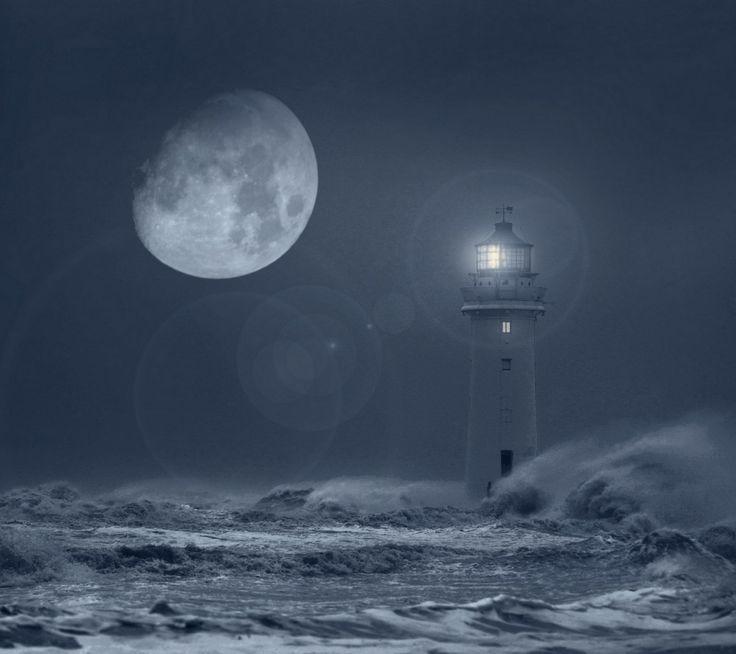 Lighthouse Storm Boat | Lighthouse storm beacon moon sea ...
