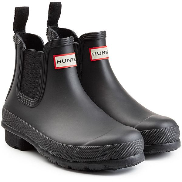 Hunter Chelsea Wellington Boots ($110) ❤ liked on Polyvore featuring shoes, boots, black, wellington rubber boots, slip on boots, black rain boots, black pull on boots and wellies boots