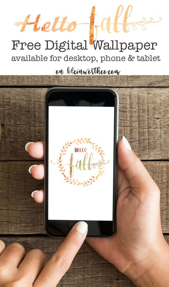 Hello Fall Digital Wallpaper, a fun way to bring fall to your digital devices. FREE download for desktop backgrounds, phone wallpapers & tablets too. via @KleinworthCo