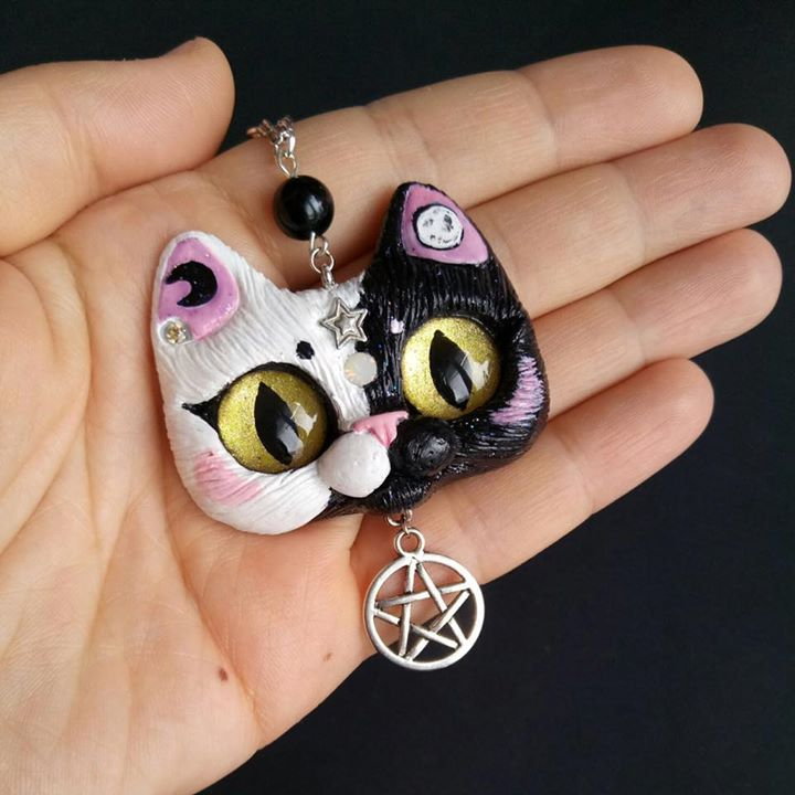 Midnight - Black And White Cat Mysterious Magical pendant With glass beads and star charm OOAK polymer clay jewelry by FleurDeLapin
